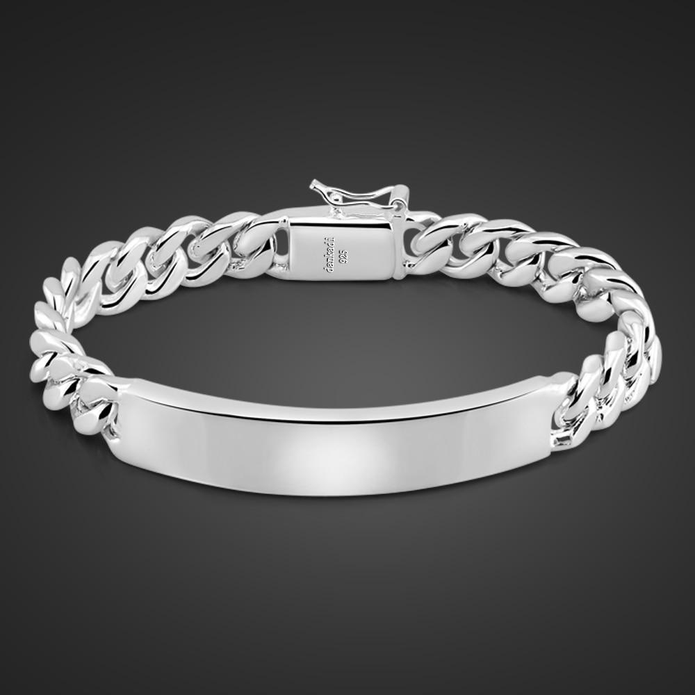 Man Miami Cuban Chain 100% 925 Sterling Silver Bracelets Men 10MM Bracelet Hip Hop Rock Italy Jewelry Customize Wholesale