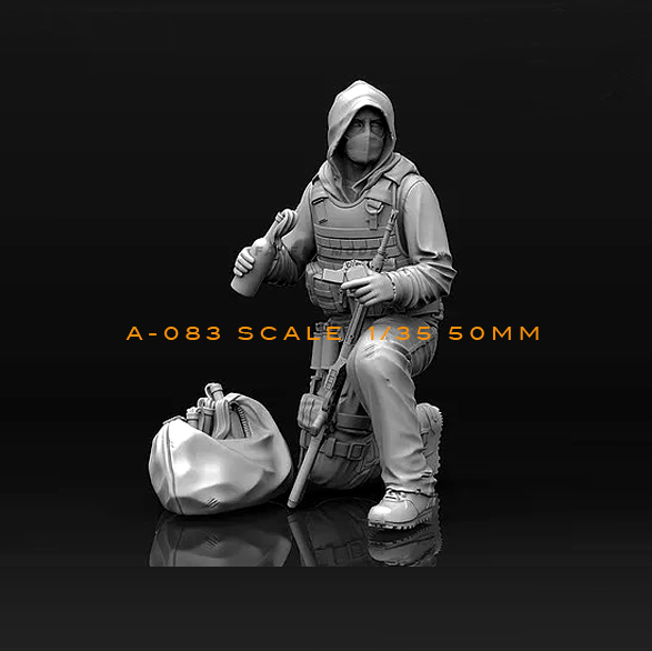 1/35(50mm)  Resin Kits Terrorist Resin Soldier Model Self-assembled A83
