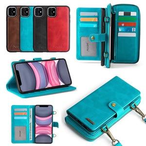 MEGSHI-020 Abnehmbare brieftasche rucksack Starke adsorption Leder Telefon Fall für iPhone 6 6S 7 8 Plus X XS XR XSMax 11 12 Pro Max