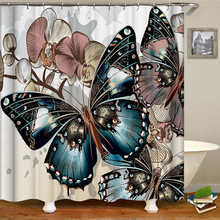 Butterfly Flower Shower Curtains Floral Leaf Waterproof Polyester Bathroom Curtain Fabric For Bathroom Curtain white embroidered short curtain for kitchen floral sheer tulle curtains for bedroom voile window screening curtain blinds drapes