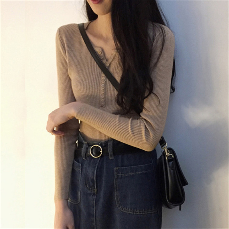 Elastic Soft Long Sleeve Women Sweater 2019 Autumn Single-breasted O-Neck Knitted Jumper Winter Basic Warm Pull Femme Pullover