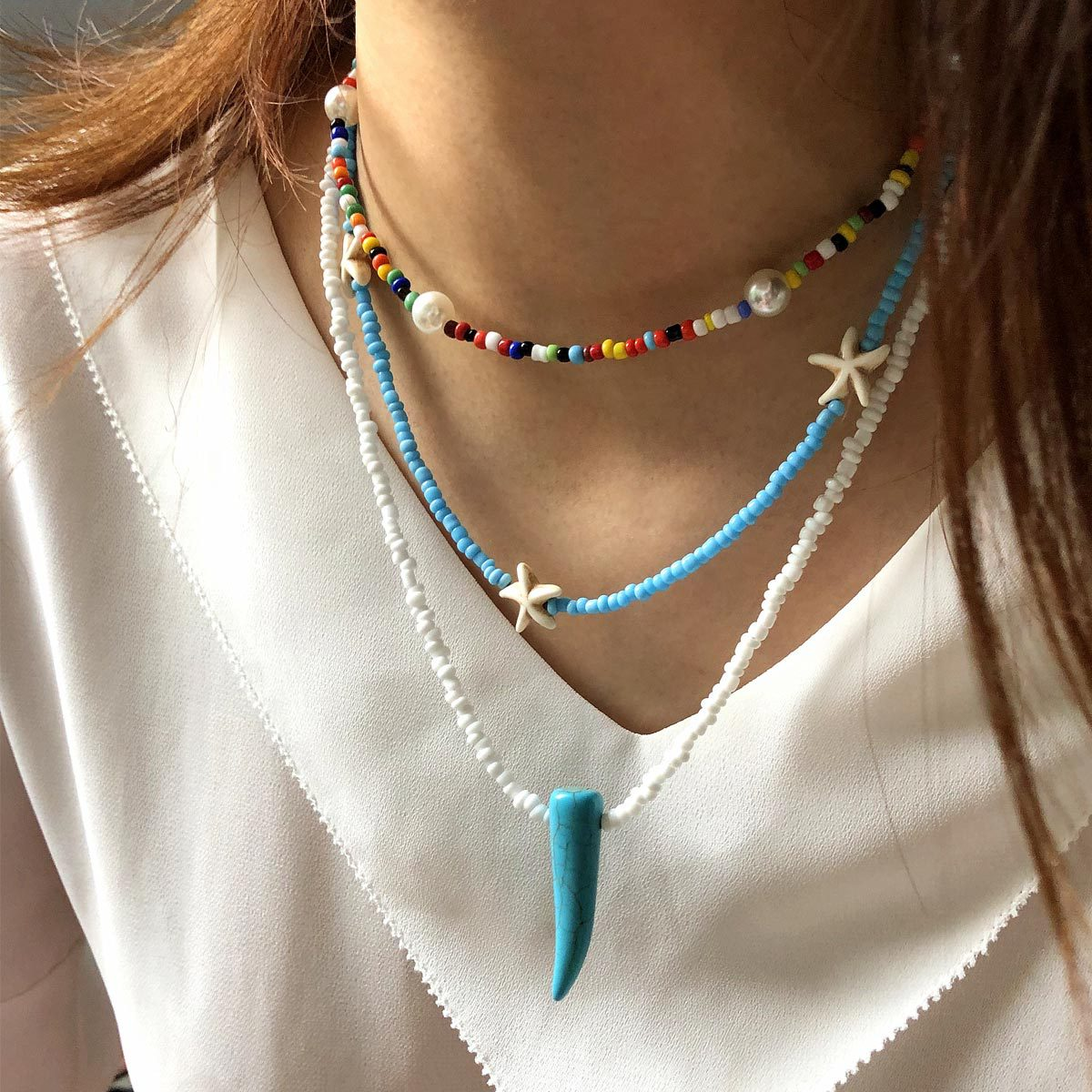 Women Necklace Rice Beads Pearl Multilayer Necklace Bohemian Choker Clavicle Chain Hand Made Necklace for Women Jewelry