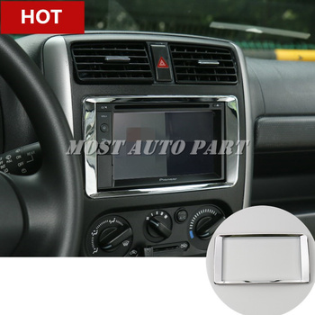ABS Interior Center Console GPS Navigation Cover Trim For Suzuki Jimny 2012-2017 Silver/Red image