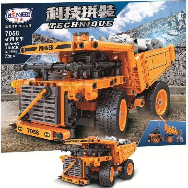 MOC Creator Mining truck 379pcs  City High-tech Engineering truck Model Building Blocks Bricks Toys For boys Christmas Gifts 1