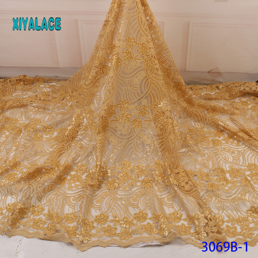 Laces 2019 High Quality Beaded Nigerian Lace Fabric Embroidery French Tulle Lace With Stones For Bridal YA3069B-1