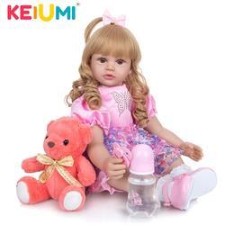KEIUMI piękny 24 Cal 60 cm silikon Reborn lalki dla dzieci dziewczyna tkaniny ciało księżniczka ze złotymi lokami Reborns dla dzieci urodziny prezenty