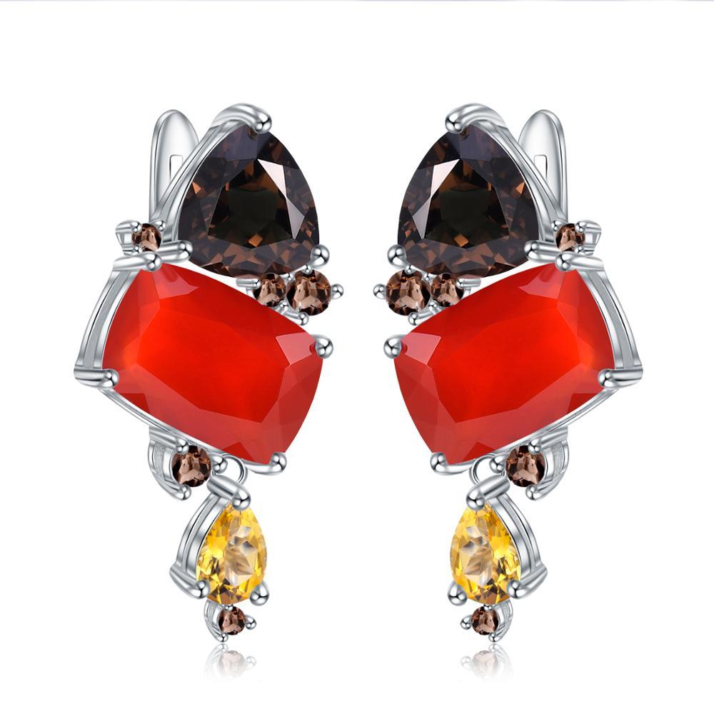 GEM'S BALLET naturel Rectangle cornaline boucles d'oreilles pour les femmes Bijoux 925 en argent Sterling à la main moderne boucles d'oreilles Bijoux-in Boucles d'oreilles from Bijoux et Accessoires    1