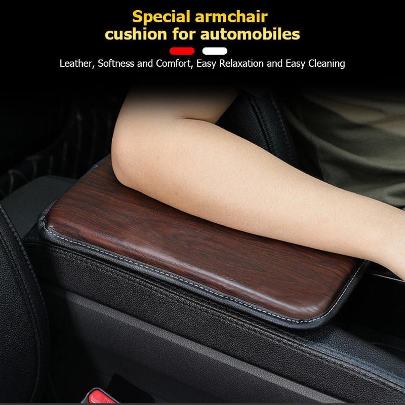 Cojín de la caja de pasamanos del coche antideslizante de cuero textura de madera almohadilla de protección del reposabrazos instalación Interior del coche piezas y accesorios