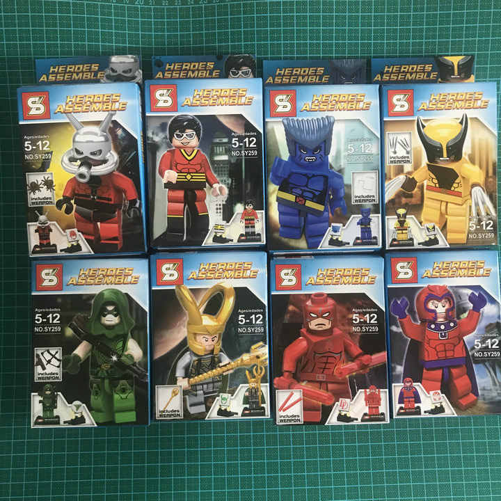 8 pz/lotto SY Super Heroes Mini figure Building blocks imposta Enlighten mattoni giocattoli Educativi Giocattoli per I Bambini