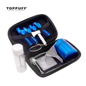 TOPPUFF Smoke tabaka Snorter Set aluminium Bullet tabaka Sniffer + metalowy dozownik łyżka + pojemnik do przechowywania Jar + plastikowy lejek tanie i dobre opinie CN (pochodzenie) Bezpłatny typ SET095 High Quality Aluminum 54 MM 2 13 Inches 53 MM 2 09 Inches 83 MM 3 26 Inches