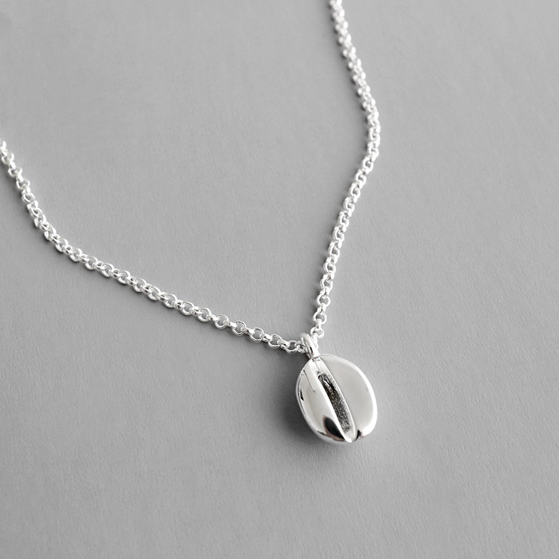 HFYK 2019 Personality 925 Sterling silver necklaces for women coffee beans short pendant necklace jewelry collier kolye collares