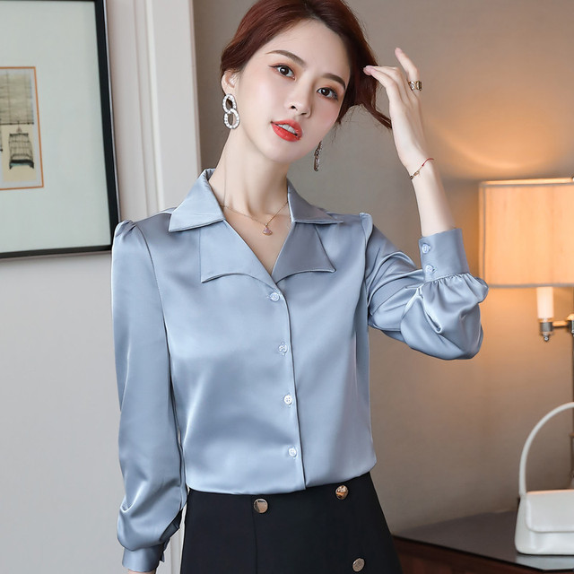 Double Neck Satin Shirt Women Long Sleeve Spring New Temperament Fashion Casual Blouses Office Ladies Formal Work Tops 3