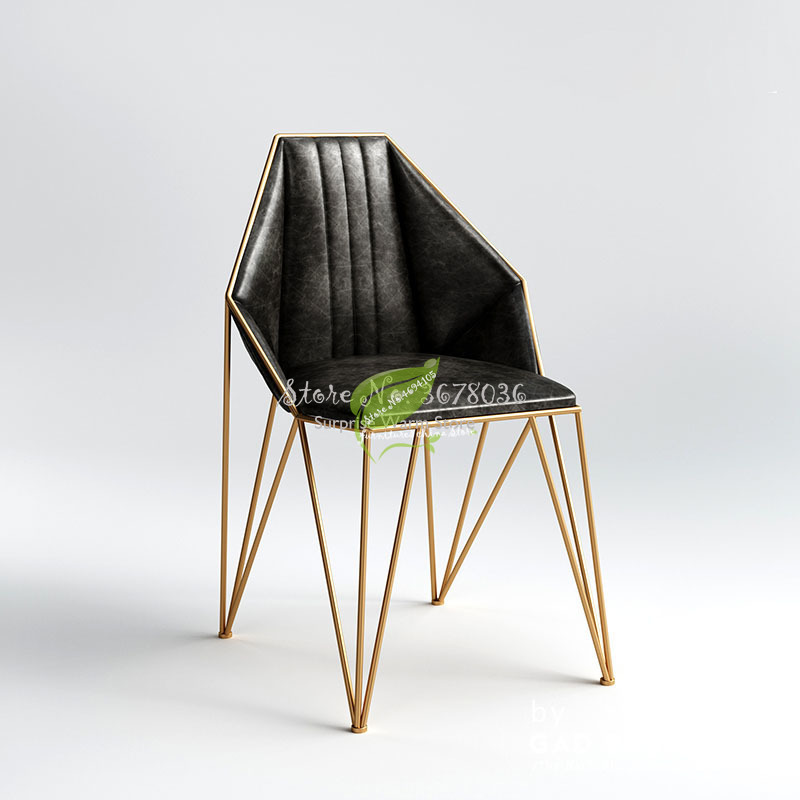 Hot Nordic Ins Black Gold Dining Chair Modern Minimalist Home High Back Chair Bar Stools Metal Leather Chairs