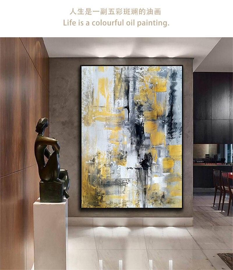 Design simples de alta qualidade pintados à mão moderna pintura a óleo cinza sobre tela arte moderna pintura a óleo para todos os tipos de decoração da parede - 6