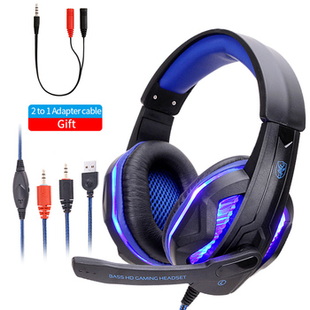 Cool LED Gaming Headset  Wired Headphones PC Headphone Headband Stereo Game Earphone With Microphone For Computer xiberia brand gaming headphones nubwo n2u wired usb headset gamer with microphone volume control led for computer laptop fone