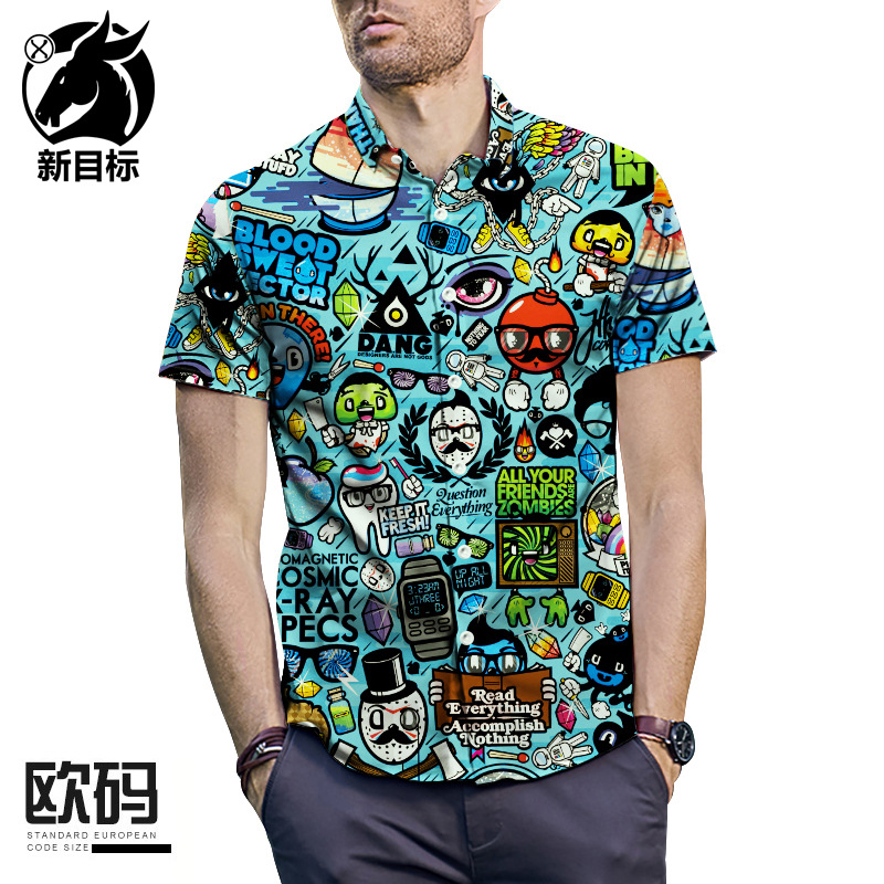 Short Sleeve Large Size Shirt 2019 Summer Anime Cartoon 3D Printed Short Sleeve Shirt Men'S Wear Popular Brand Shirt