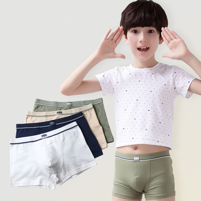 4 Pcs/pack Boys Panties Solid Color Toddler Baby Underpants Breathable Cotton Briefs Boys Underwear for Boy Children Clothes New
