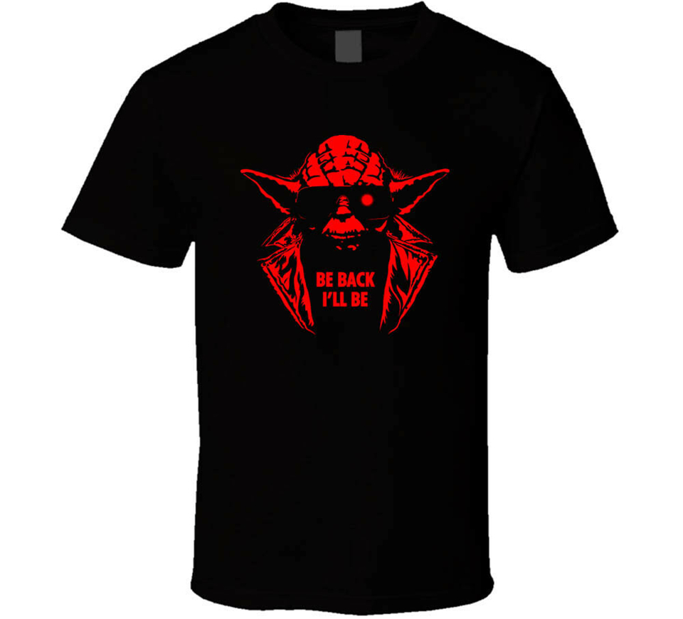 Yoda Be Back Ill Be Terminator <font><b>Parody</b></font> Tee Black White <font><b>Tshirt</b></font> Men'S Free Shipping For Youth Middle-Age The Old Tee Shirt image