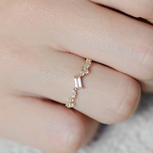 Image 5 - Kuololit 100% Moissanite 10K Yellow Gold Rings for Women emerald cutting Gemstone Ring for Engagement Wedding Bride anniversary