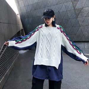 Image 5 - [EAM] ผู้หญิงถักแยกขนาดใหญ่Denimเสื้อใหม่แขนยาวหลวมFitเสื้อแฟชั่นฤดูใบไม้ผลิฤดูใบไม้ร่วง2020 1K218