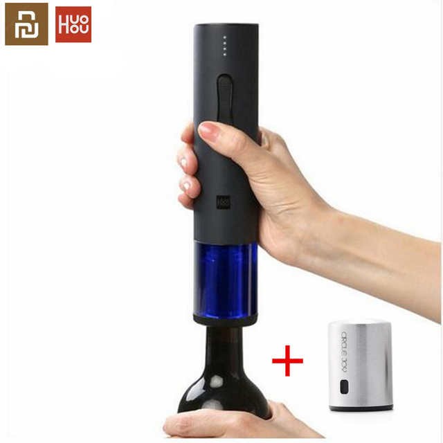Youpin huohou abridor de garrafa de vinho tinto automático elétrico corkscrew folha cortador cortiça para fora ferramenta 6s abrir 550mah bateria