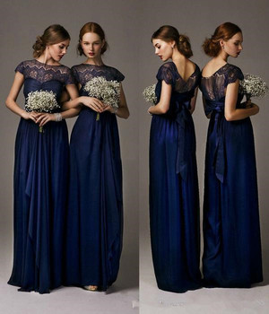Navy Blue Lace Bridesmaid Dresses 2019 Hot Selling Floor Length Sheath Long Maid Of Honor Gowns Cap Sleeve Chiffon Prom gown