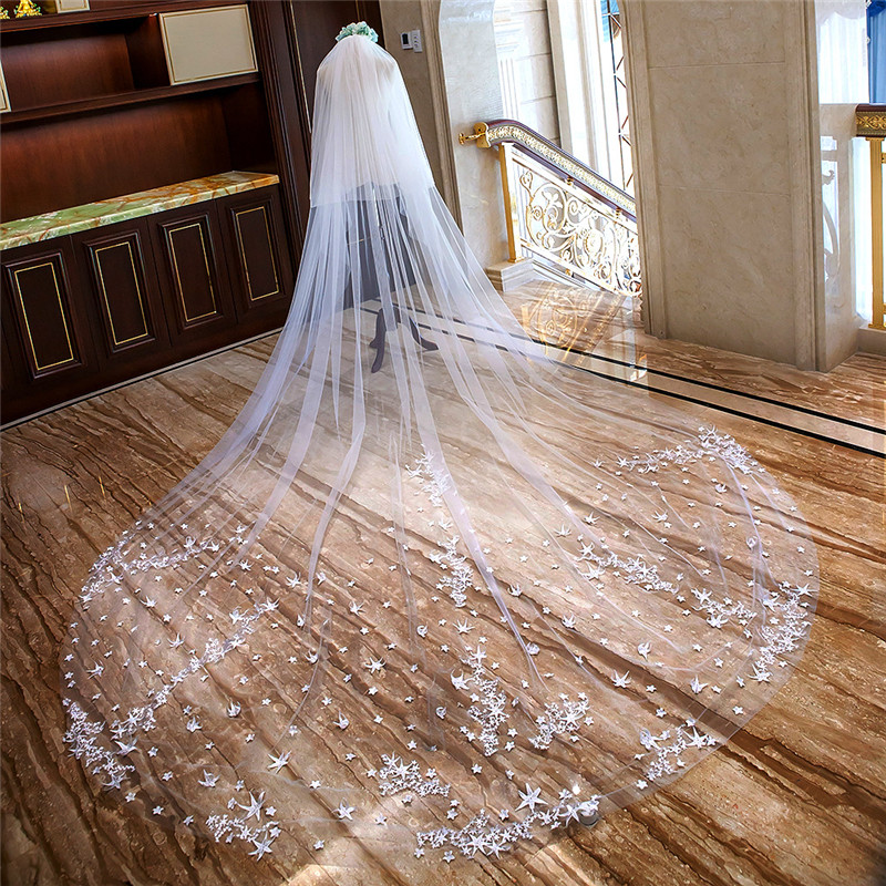 New Star Lace Appliques Two Layers Beach Long Bridal Wedding Veil 4M Bride's Veil With Comb Cathedral With Face Veil Spring