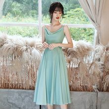 New sweet midcalf 110cm summer green lady girl women princess bridesmaid banquet party ball dress gown daily wear free ship