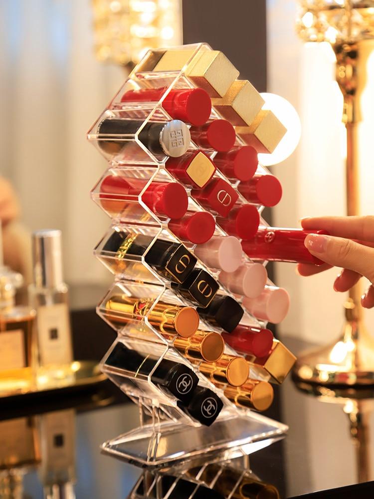 28 Grids Fish Type Lipstick Organizer Multi-Layer Transparent Acrylic Lipstick Holder Cosmetic Storage Box