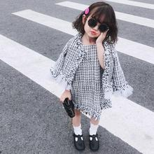 Autumn new eleagnt tweed coats + vest dress 2pcs sets for baby girls toddler mes