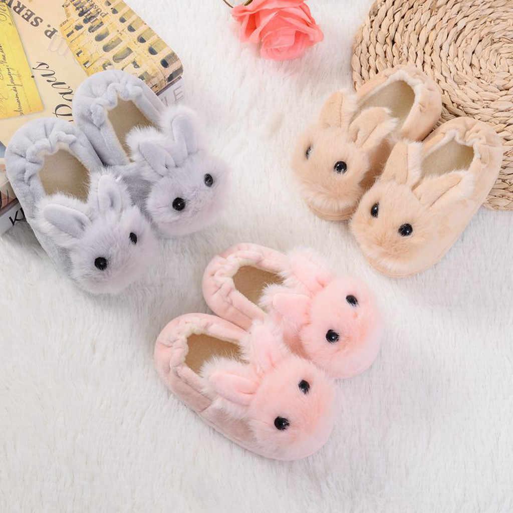 Kids Winter Home Non-Slip Slippers Baby Girls Boys Rabbit Ear Thicken Warm Shoes