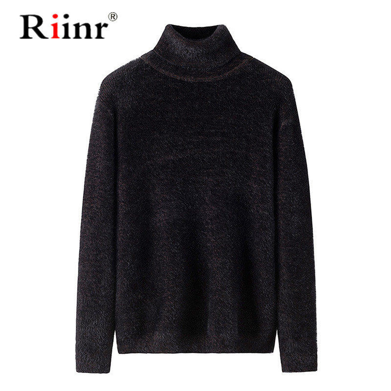 Riinr Men's Warm Turtleneck Sweater Hombre Fashion Solid Knitted Mens Sweaters Casual Slim Pullover Male Double Collar Top