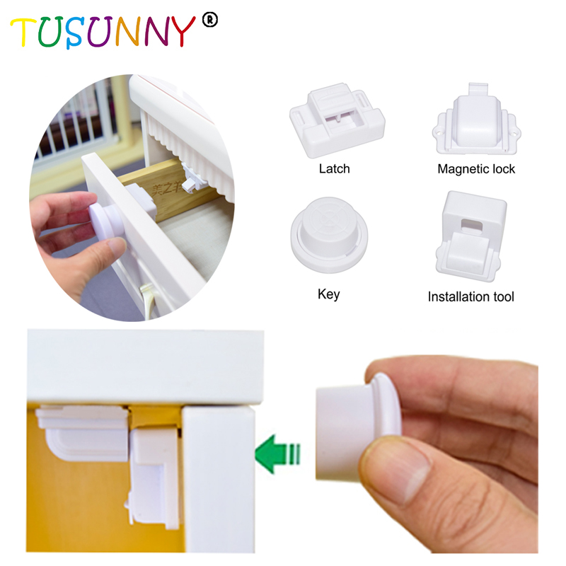 4pcs Easy Install Baby Children Invisible Safety Door Cabinet Drawer Spring Lock