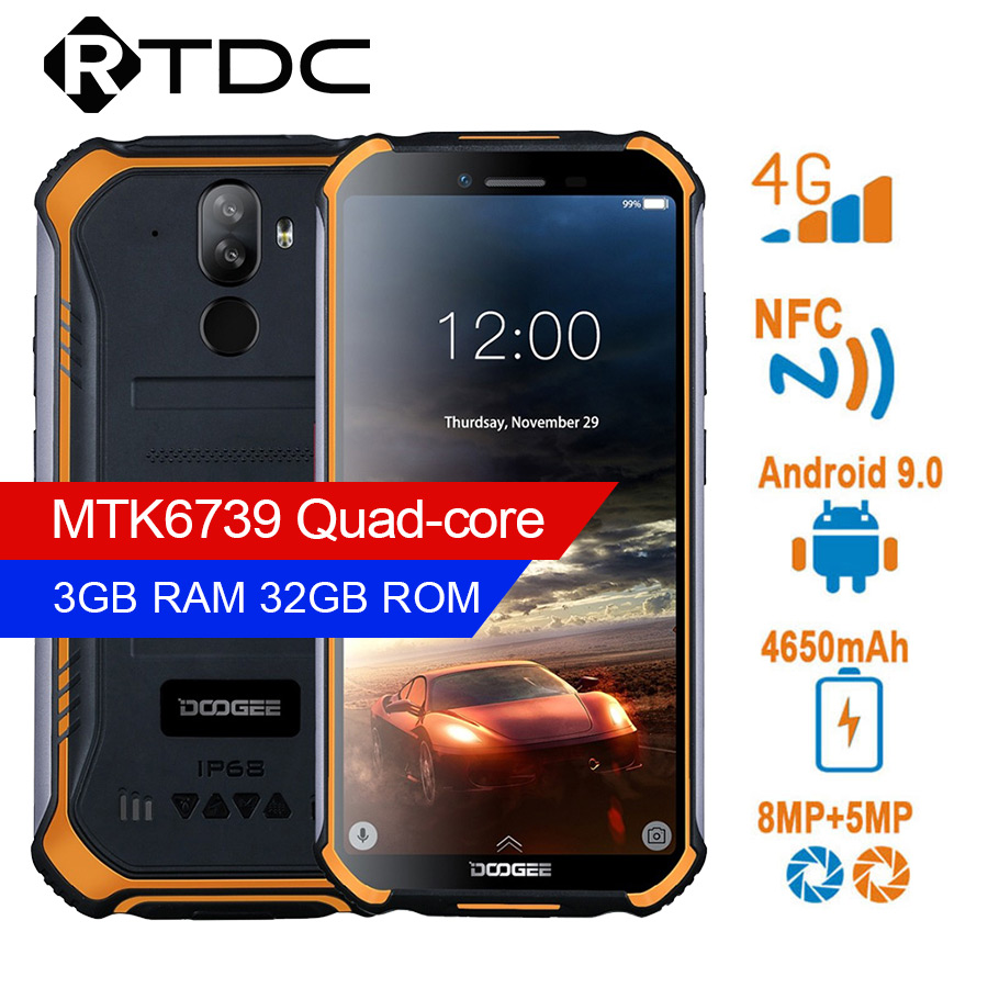 DOOGEE S40 4G Network Rugged Mobile Phone 5.5inch Display 4650mAh MT6739 Quad Core 3GB RAM 32GB ROM Android 9.0 8.0MP IP68/IP69K