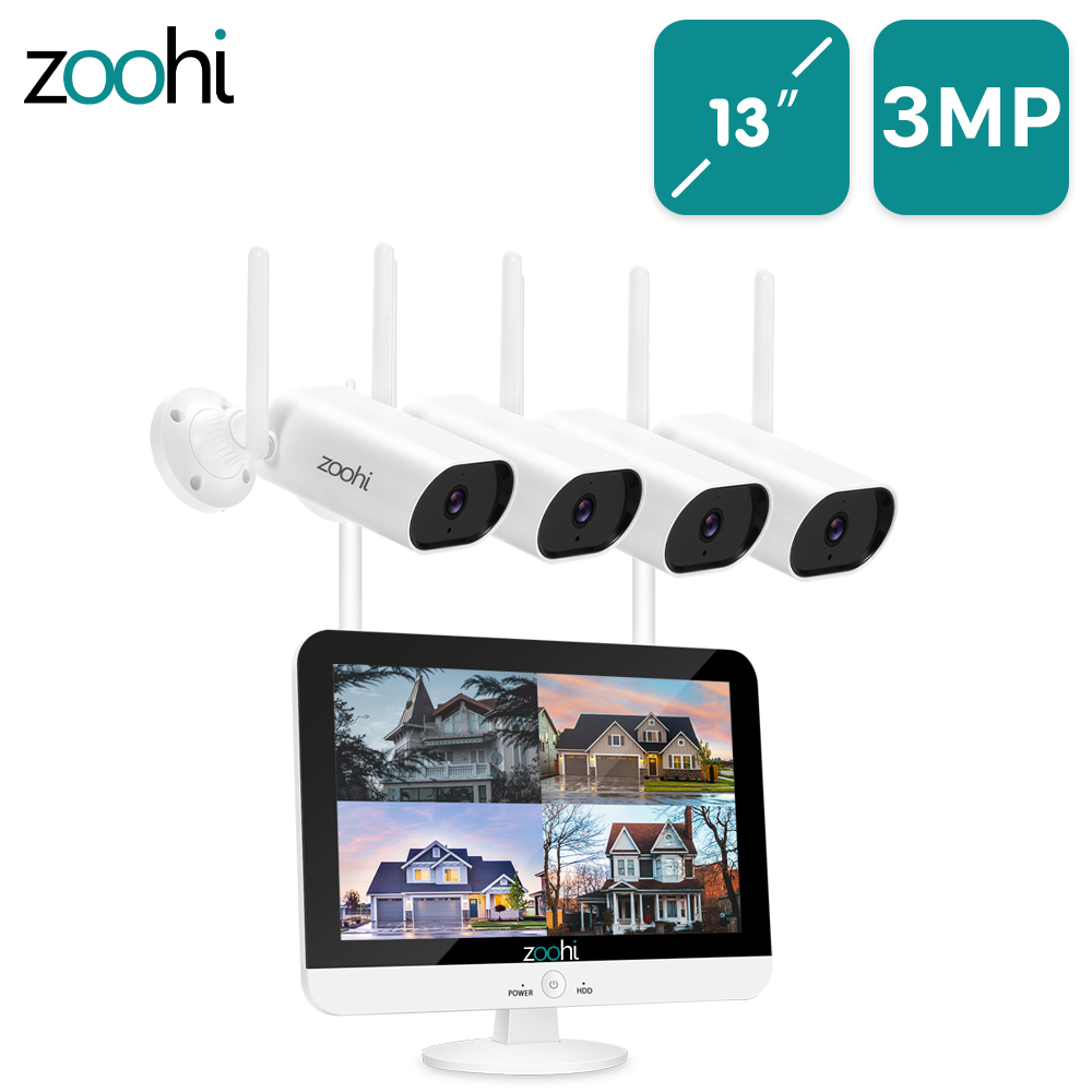 Система видеонаблюдения Zoohi 13-дюйм беспроводной монитор NVR 3MP HD Wifi камера Запись звука домашняя уличная камера безопасности