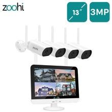 Zoohi sistema de vídeo de vigilância 13 polegadas sem fio monitor nvr 3mp hd wi fi câmera gravação de som em casa ao ar livre sistema de câmera de segurança
