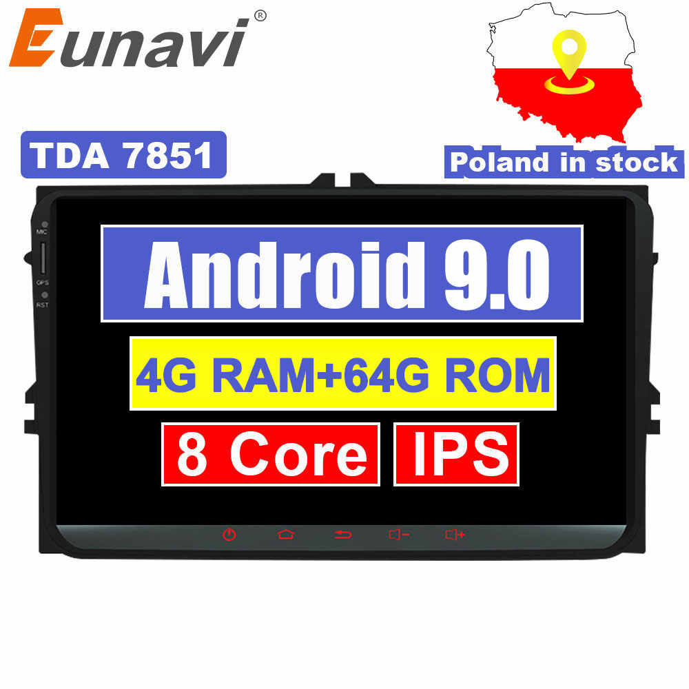 Eunavi 9'' 2 Din Android 9.0 car radio stereo player for Volkswagen VW Polo Jetta Tiguan passat b6 cc fabia gps wifi 4GB 64GB PC
