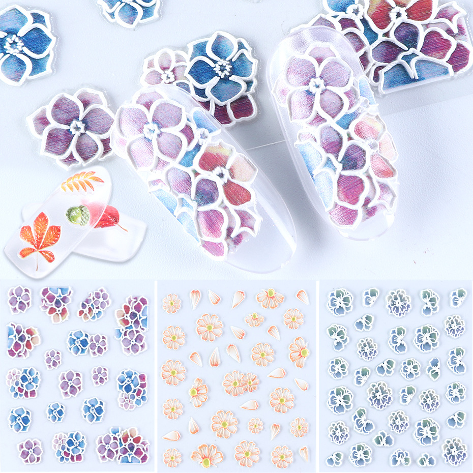 Cross Border Stereo Relief Nail Sticker INS Japanese-style Hipster DIY Back Glue 5D Nail Sticker Gum Nail