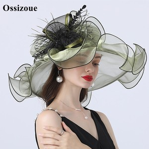 Шляпа от солнца Sage Green, шляпа от солнца для свадьбы, цветочные шляпки для невесты, складные карнизы для песочного пляжа, синяя летняя официал...