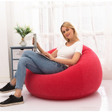 PVC Inflatable Flocking Air Sofa Chair One Seat Camping Mattress Beanbag Outdoor flocked Lounger Camp Picnic