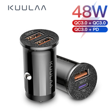 KUULAA Mini USB Car Charger Quick Charge 4.0 PD 3.0 48W Fast Charging Charger For iPhone Huawei Xiaomi Mi Type C Mobile Phone