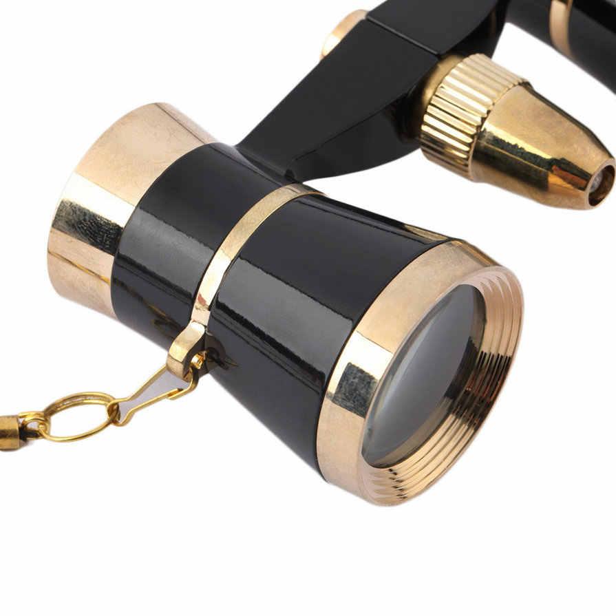 3x25 نظارات مغلفة تليسكوب مزود بمنظار ثنائي المسرح/أوبرا زجاج/سيدة زجاج مع حلية ذهبية مع سلسلة قلادة