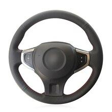 יד תפור שחור PU דמוי עור רכב הגה כיסוי עבור רנו Koleos 2007 2015 רנו סמסונג QM5 2007 2008 2009