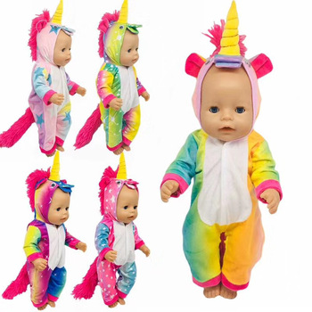 Born New Baby Fit 18 inch 43cm Doll Clothes Accessories Yellow Horn Unicorn Suit For Birthday Gift