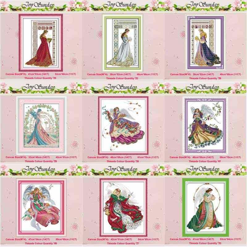 Panna młoda zima anioł dziewczyna RAVEN-QUEEN 11CT 14CT zestawy do haftu krzyżykowego DIY chiński zestaw do szycia haft robótki Home Decor