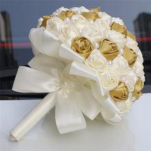 WifeLai-A 21 см атласный букет подружки невесты ручной работы цвета слоновой кости, простой жемчужный вышитый бисером Свадебный букет W322