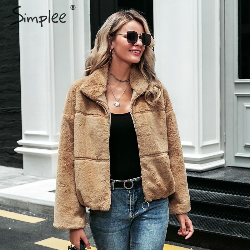 Simplee Zipper Faux Fur Women Thick Coat Autumn Winter Casual Soft Female Outwear Coat Long Sleeve Streetwear Ladies Jacket Coat