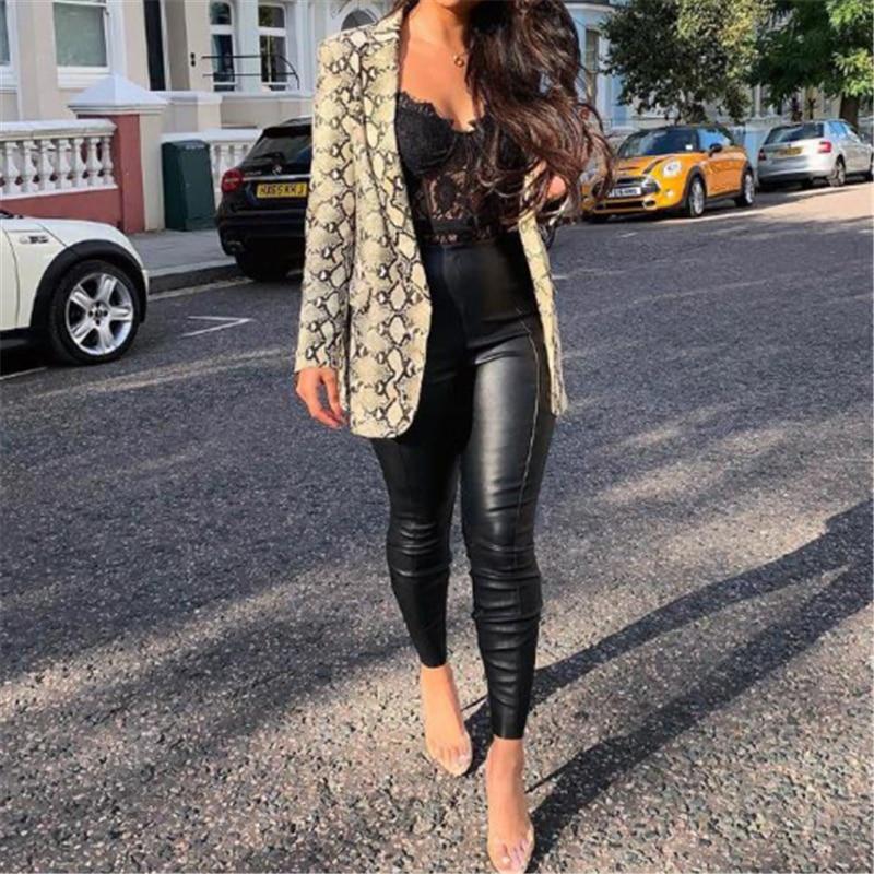 Animal Snake Skin Casual Blazer Women Khaki Fashion Long Sleeve Office Ladies Blazer Autumn Jacket Female Outerwear Coats
