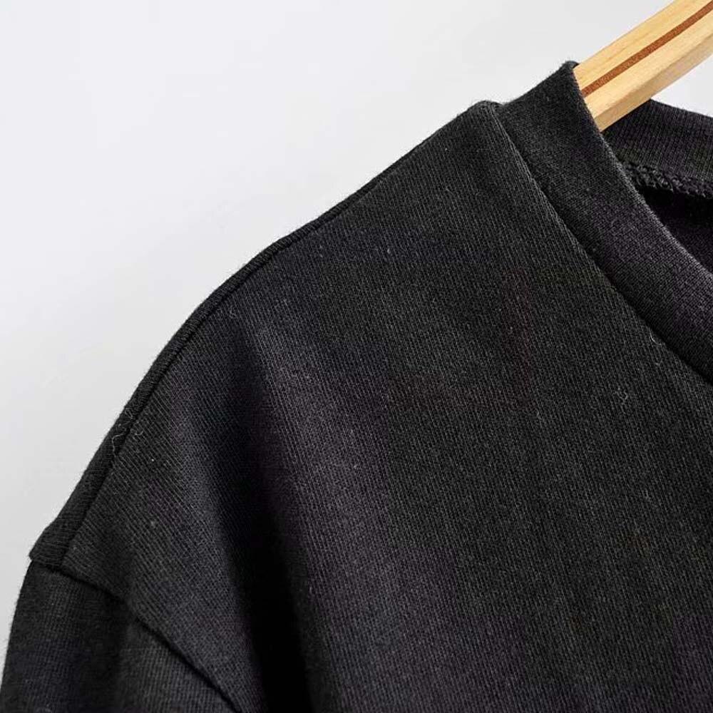 Image 4 - ديزني لطيف ميكي ميني ماوس الكلب الكرتون طباعة قميص أسود س الرقبة البلوز قصيرة الأكمام عادية الحلو المرأة فضفاض المحملة القممتي شيرتاتملابس نسائية -