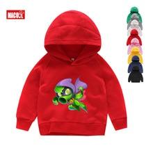 Kids Winter Long Sleeves Hoodies Sweatshirts Kid Game Plants Vs Zombies Print Hoodies Boy Tops Long Sleeves Gules Sweatshirts
